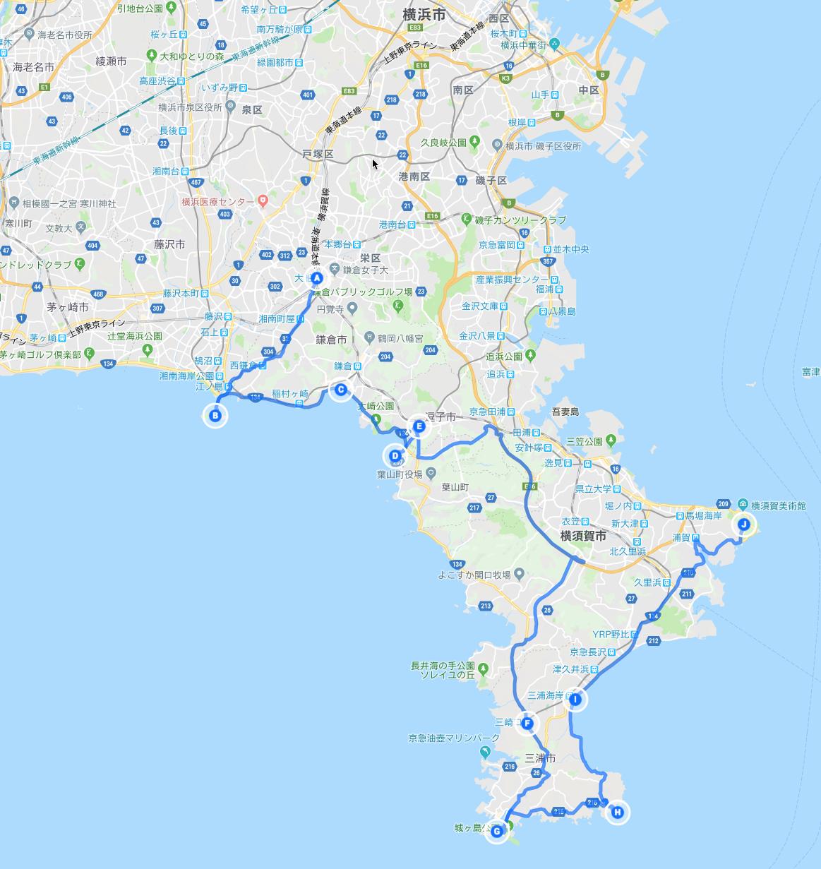 江ノ島〜三浦半島一周の旅の道のり