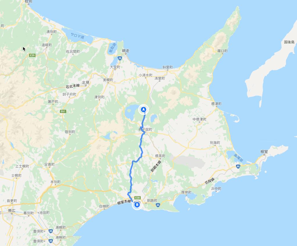 弟子屈町川湯温泉から釧路へ